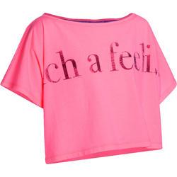 Kort en wijd dansshirt met korte mouwen meisjes fluoroze