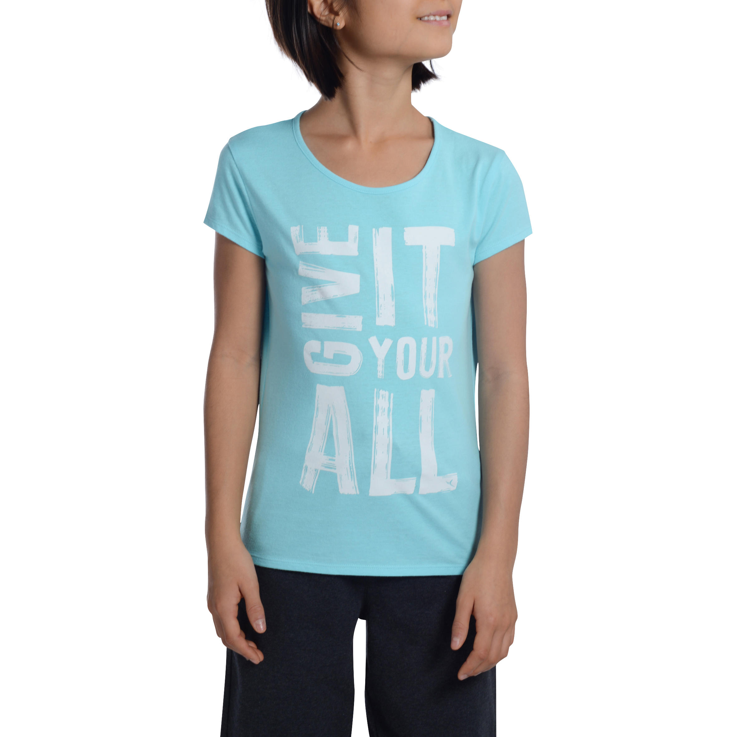 Girls' Short-Sleeved Gym T-Shirt - Blue