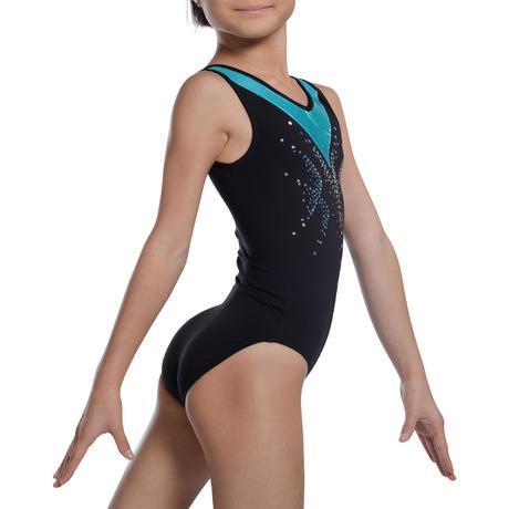 a495099c1c65 Body ginnastica bambina 500 nero-turchese | Domyos by Decathlon