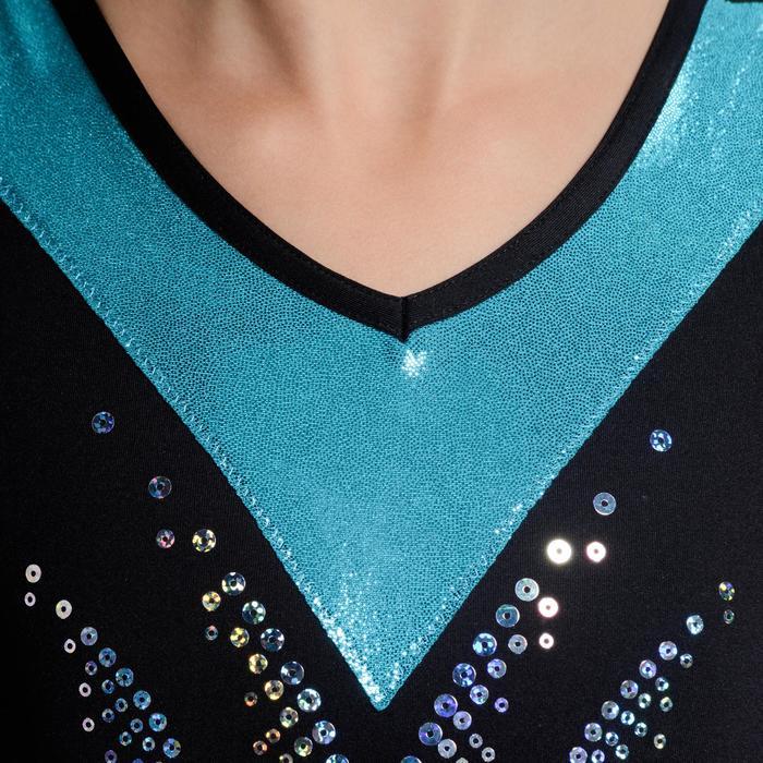 Mouwloos turnpakje met lovertjes voor meisjes (AG en RG), zwart/turquoise