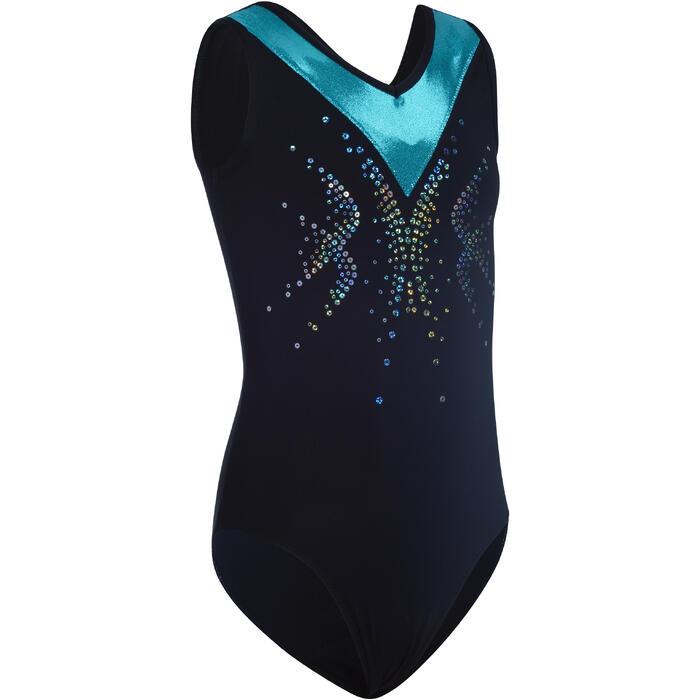 Justaucorps sans manches gym fille (GAF et GR) noir/turquoise sequins