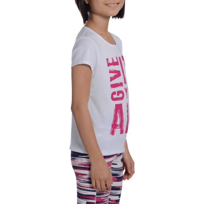 Camiseta de manga corta estampada gimnasia niña blanco