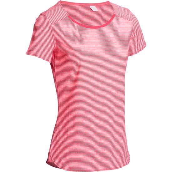 T-shirt gym/pilates dames gestreept - 1103233