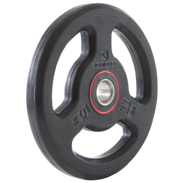 Disque musculation avec poignées 28 mm caoutchouc 5 kg - 1103507