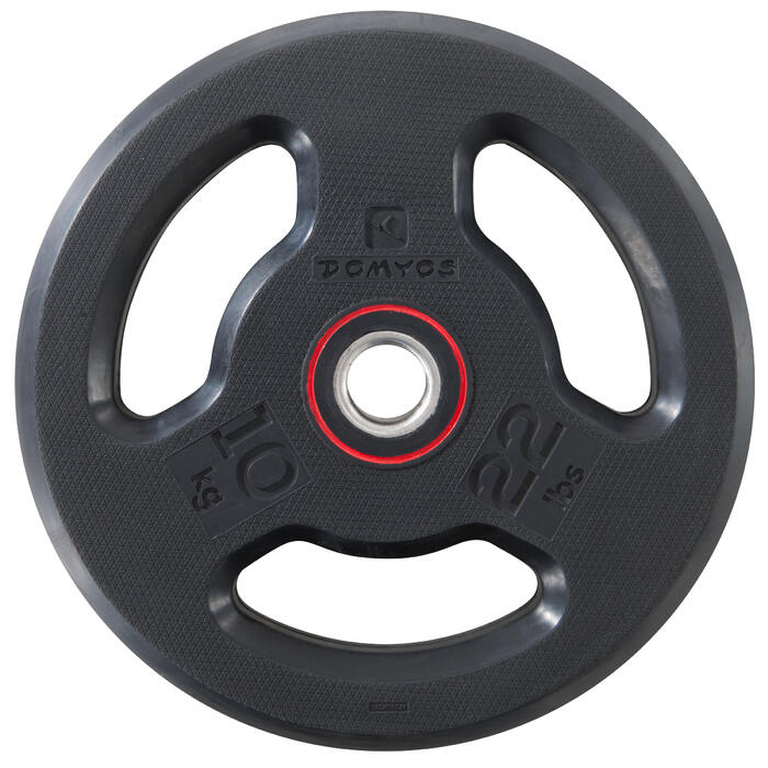 Disque musculation avec poignées 28 mm caoutchouc 10 kg