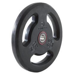 Disque musculation avec poignées 28 mm caoutchouc 15 kg
