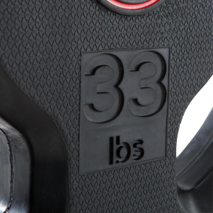 Disco de caucho de musculación con asas Domyos de 28 mm de 15 kg