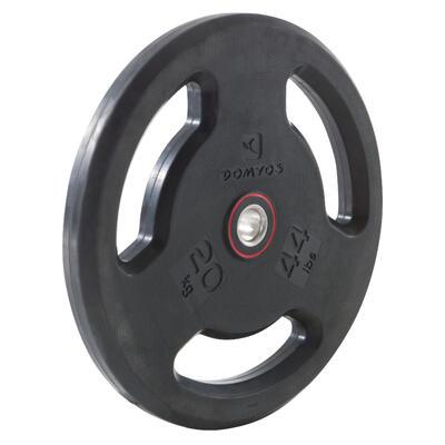 Disque musculation avec poignées 28 mm caoutchouc 20 kg