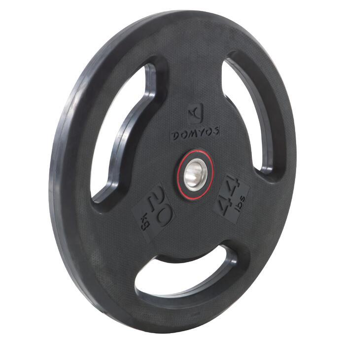 Disque musculation avec poignées 28 mm caoutchouc 20 kg - 1103546
