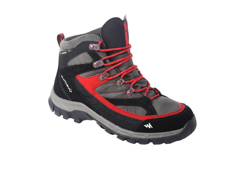 Quechua Forclaz 100 Men's High Waterproof Hiking Shoes - red