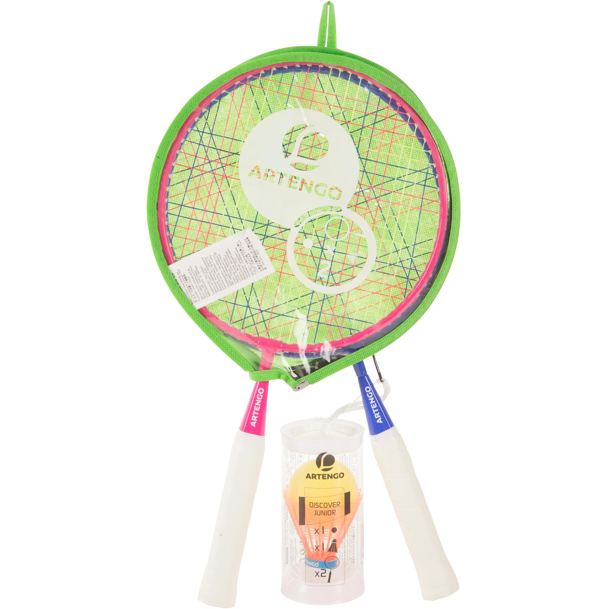 Ensemble découverte rose bleu raquette junior de badminton