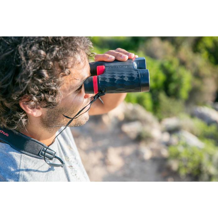 Prismáticos Montaña Senderismo Quechua MH B 560 Aumento x12 Adulto Negro/Rojo