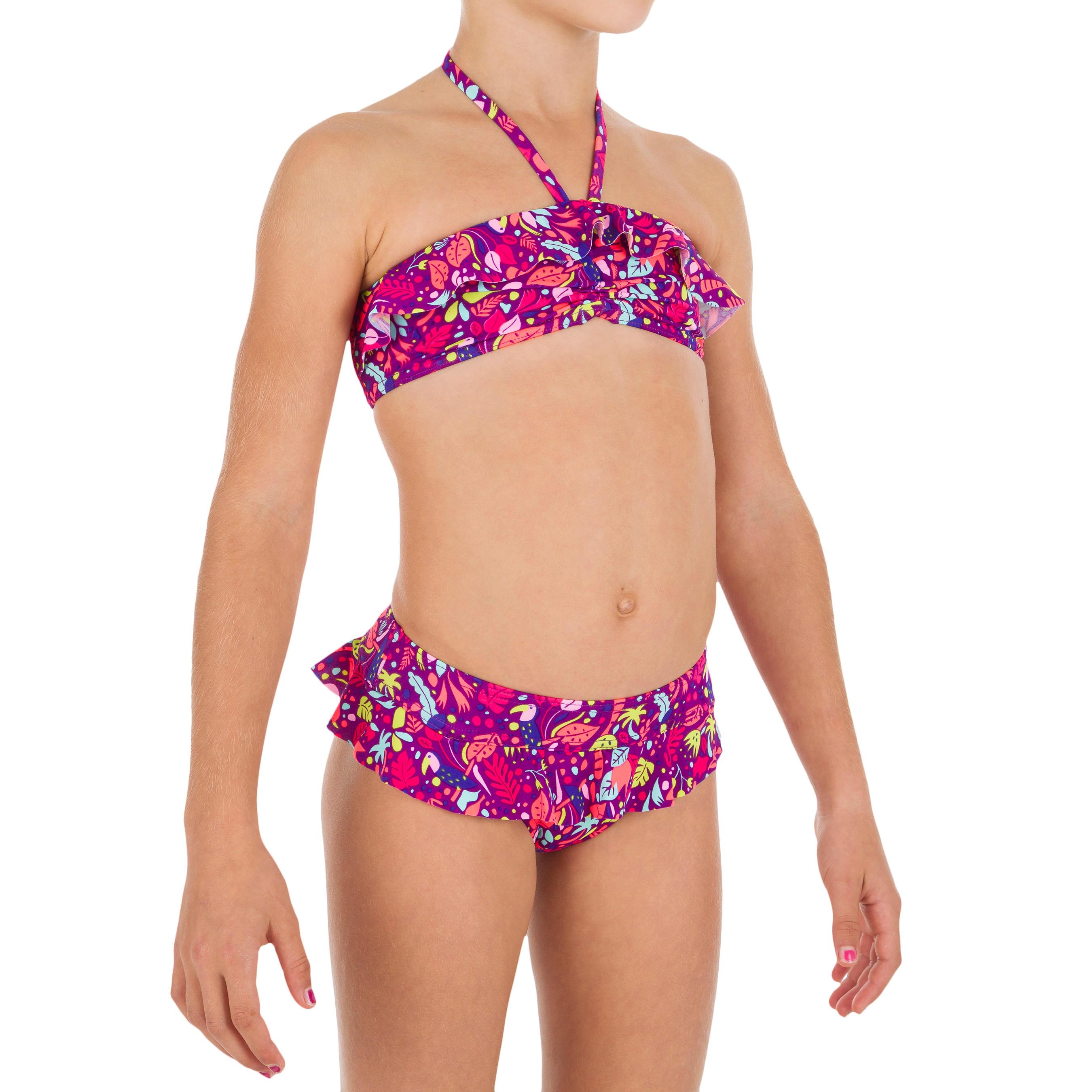Bikini niña con sujetador tipo banda con volante TOUCAN