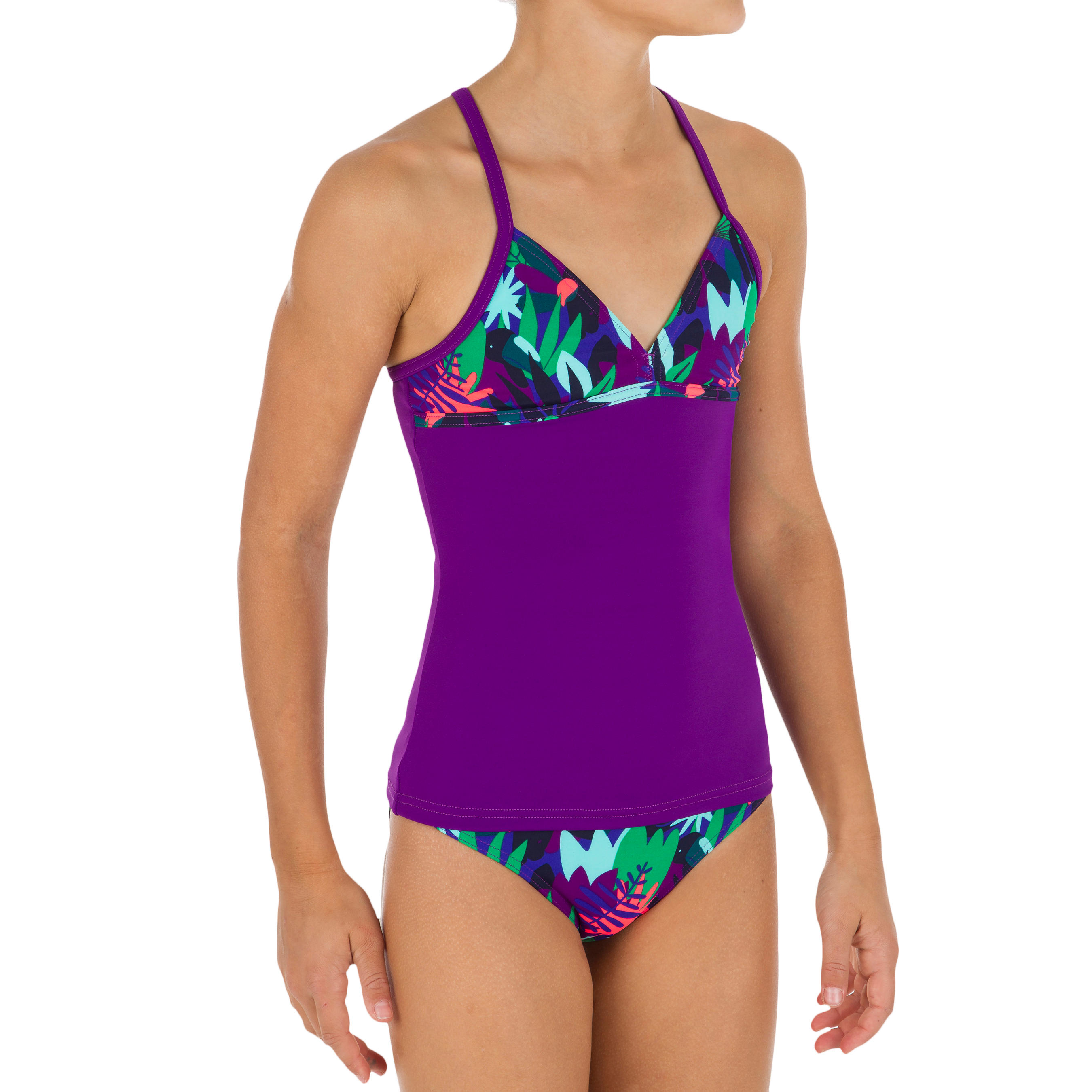tribord maillot de bain 2 pi ces tankini fille jungle decathlon. Black Bedroom Furniture Sets. Home Design Ideas