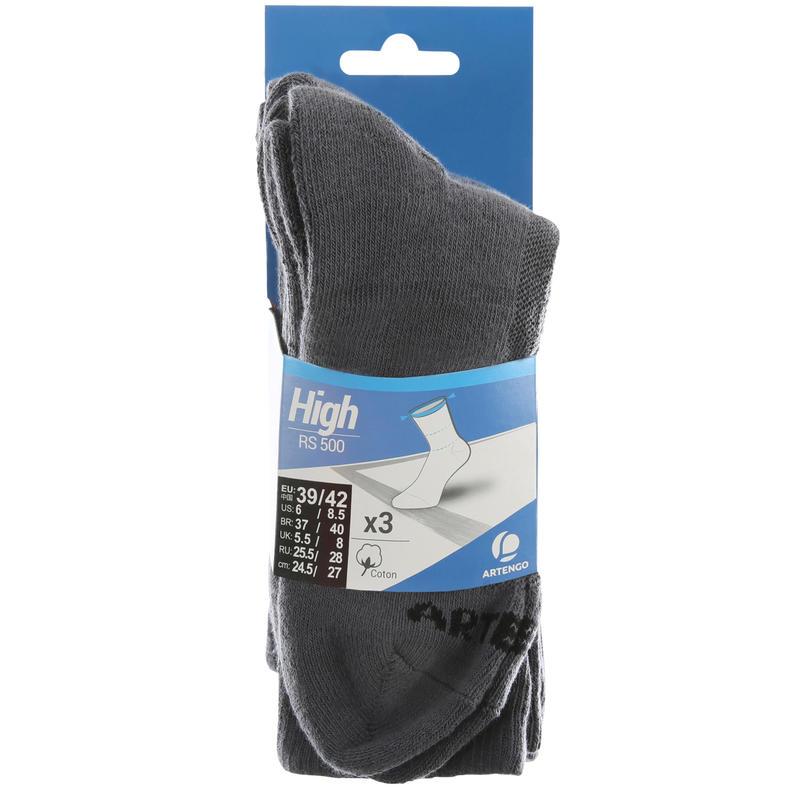 RS 500 Adult High Sports Socks Tri-Pack - Grey