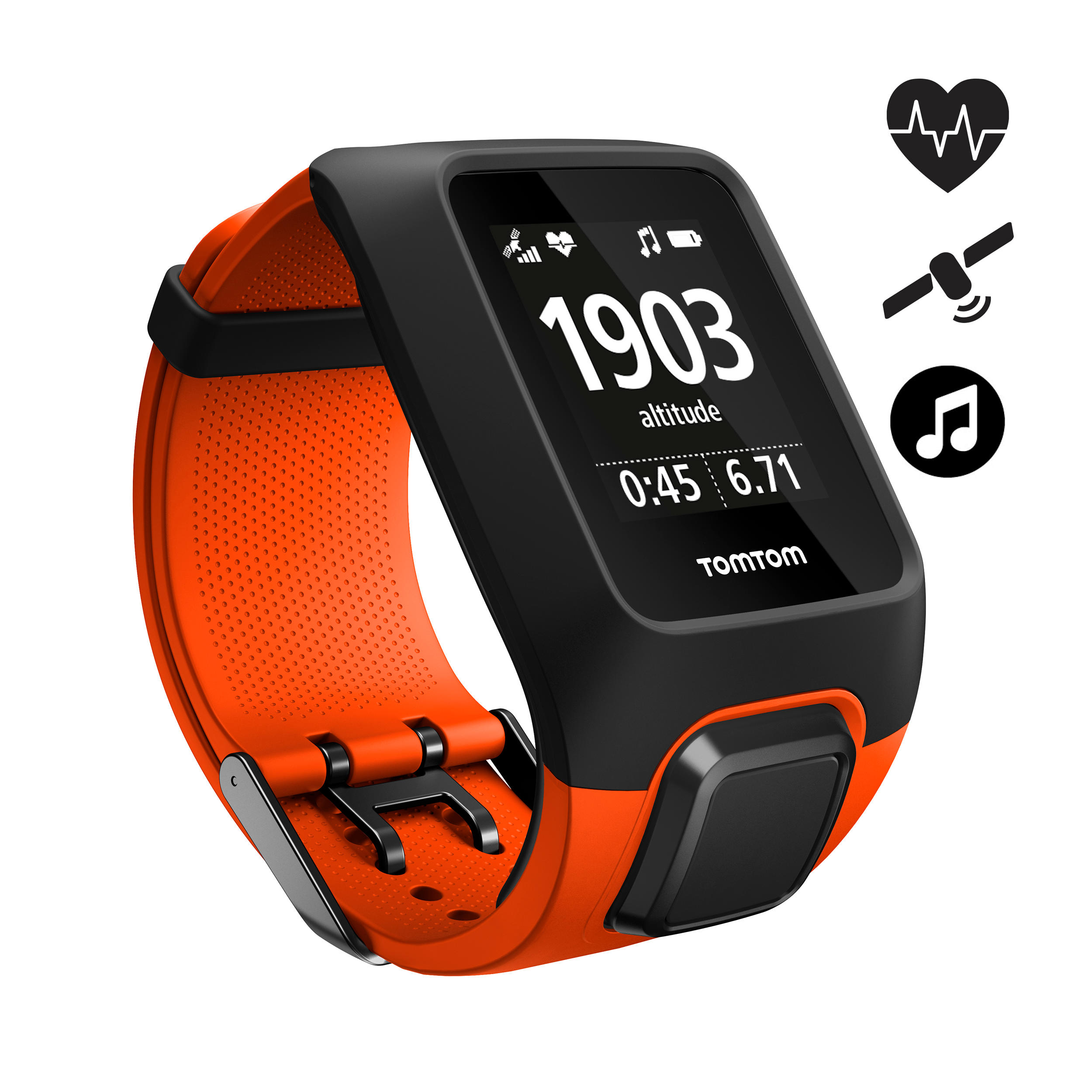 Tomtom Gps-horloge Adventurer cardio + music oranje/zwart (maat L)