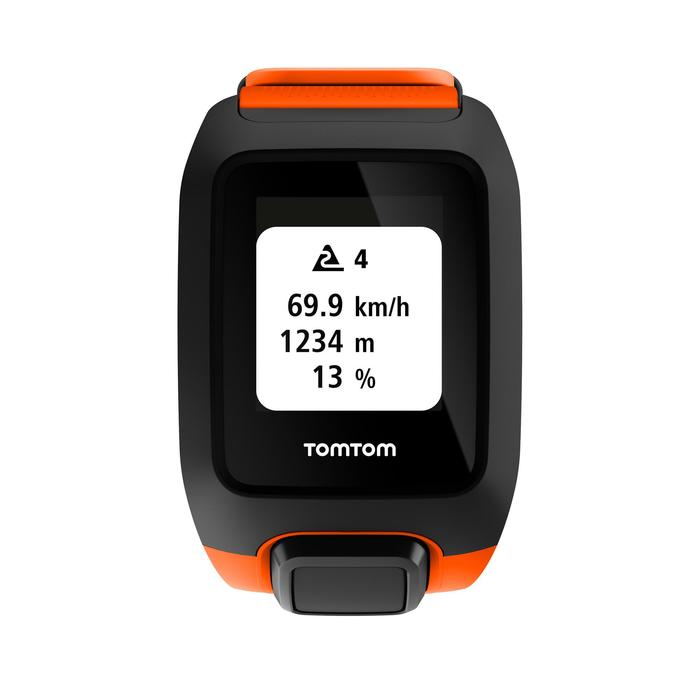 Montre de sport GPS Adventurer cardio + music au poignet orange/noire (taille L)