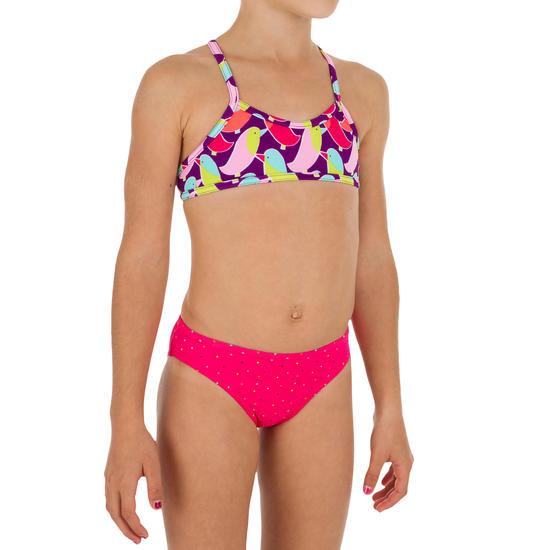 Meisjesbikini met topje zonder sluiting en gekruiste bandjes op de rug Palmier - 1107111