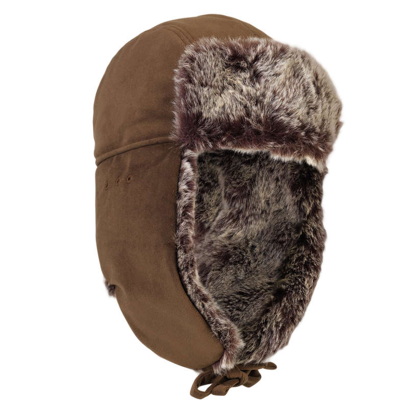 WARM GLOVES/BEENIES/HOODS Shooting and Hunting - TOUNDRA 500 FUR HAT BROWN SOLOGNAC - Hunting and Shooting Clothing