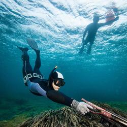 Duikvest SPF 100 voor harpoenvissen en vrijduiken, 5 mm, zwart/grijs - 1107913