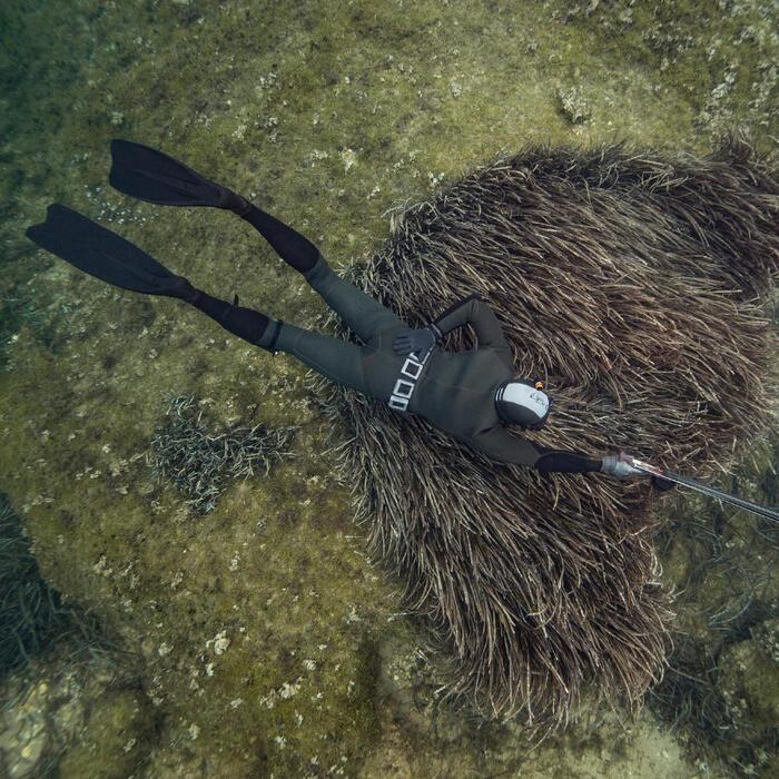 Longjohn SPF 100 in neopreen van 7 mm voor harpoenvissen kaki grijs