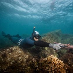 Chaqueta Pesca Submarina Subea SPF 100 Neopreno Felpa 3 mm Adulto Gris Azul
