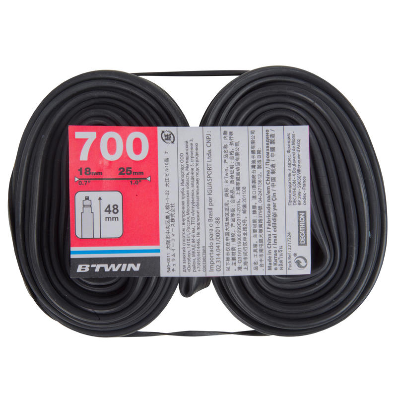 700x18-25 48mm Presta Valve Inner Tubes Twin-Pack