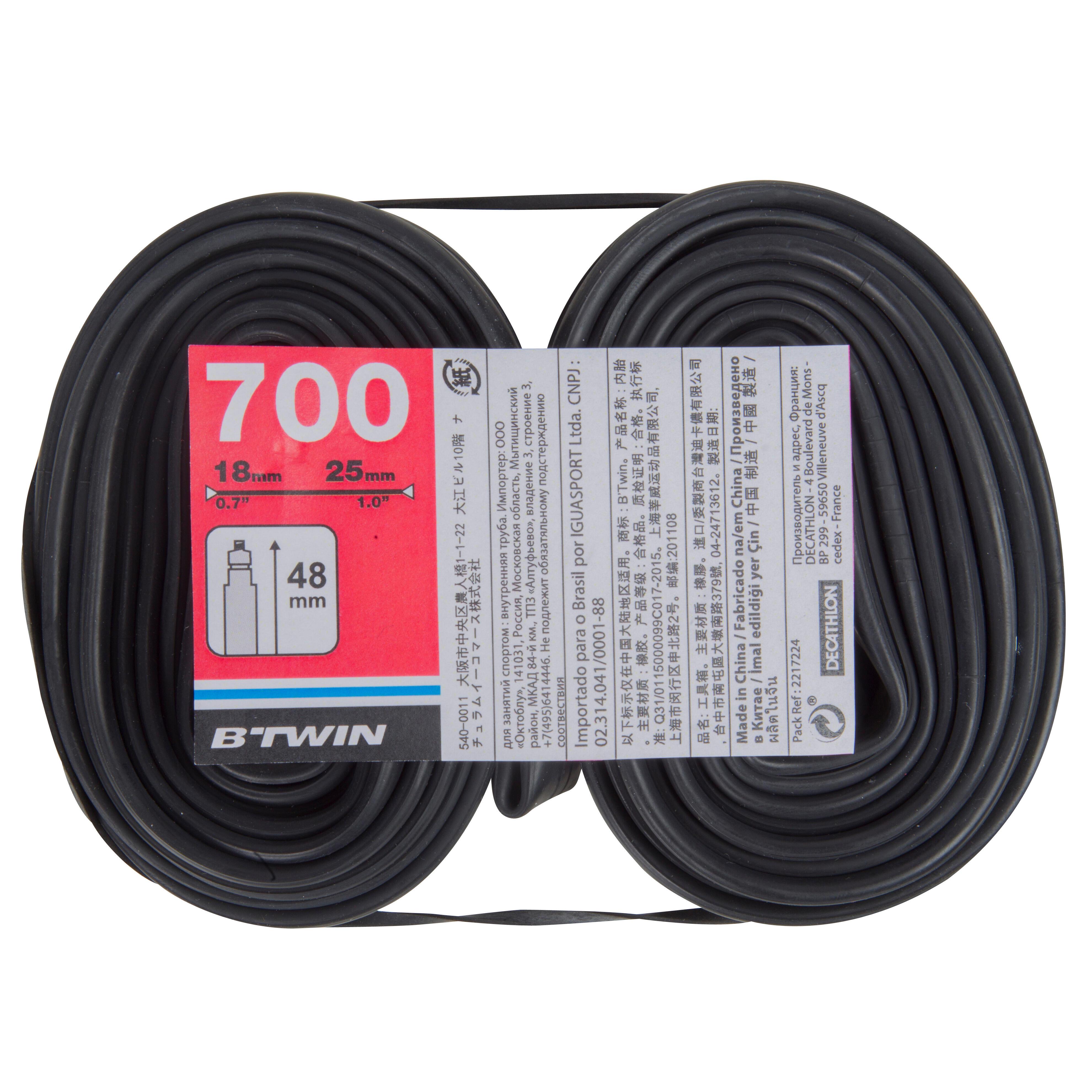 700x18-25 Inner Tube Twin-Pack - Presta Valve 48 mm