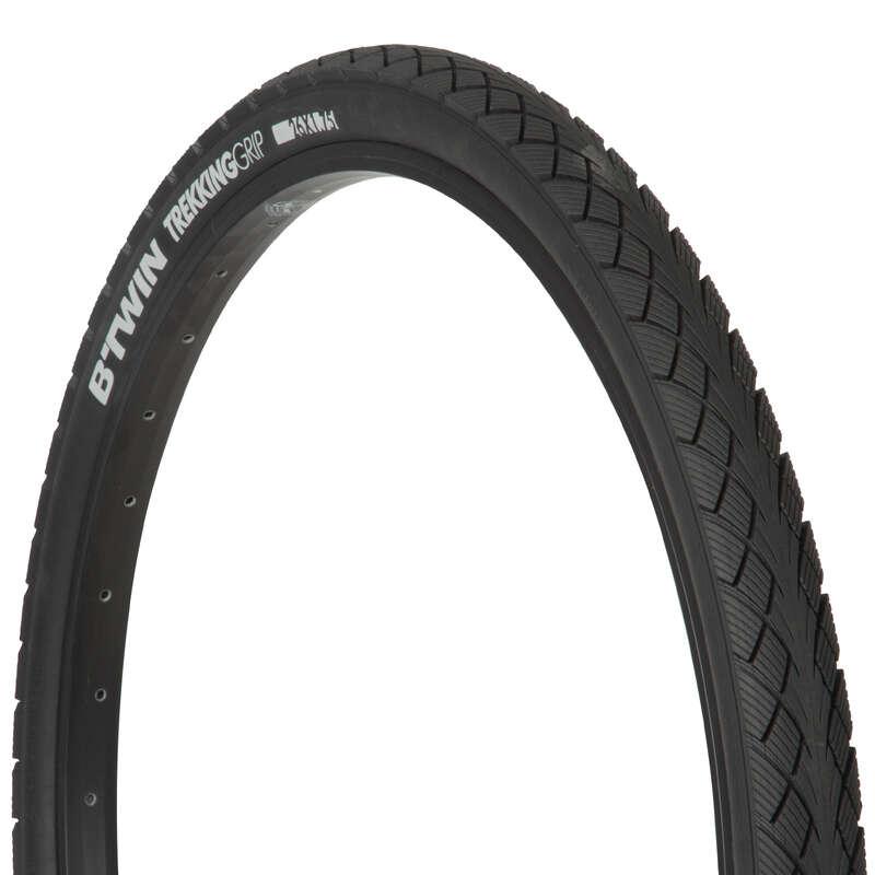 Покрышки для гибридных велосипедов Велоспорт - Шина Trekking 1 grip 26x1,75 BTWIN - Запчасти и компоненты
