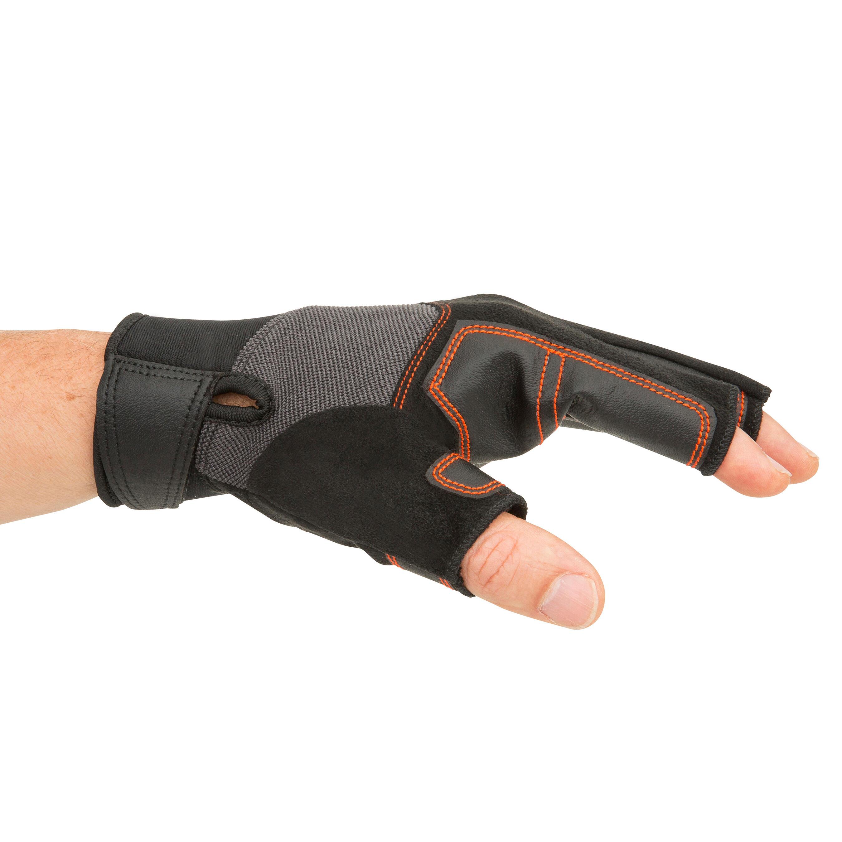 Sailing 500 Men's Women's Fingerless Gloves - Black