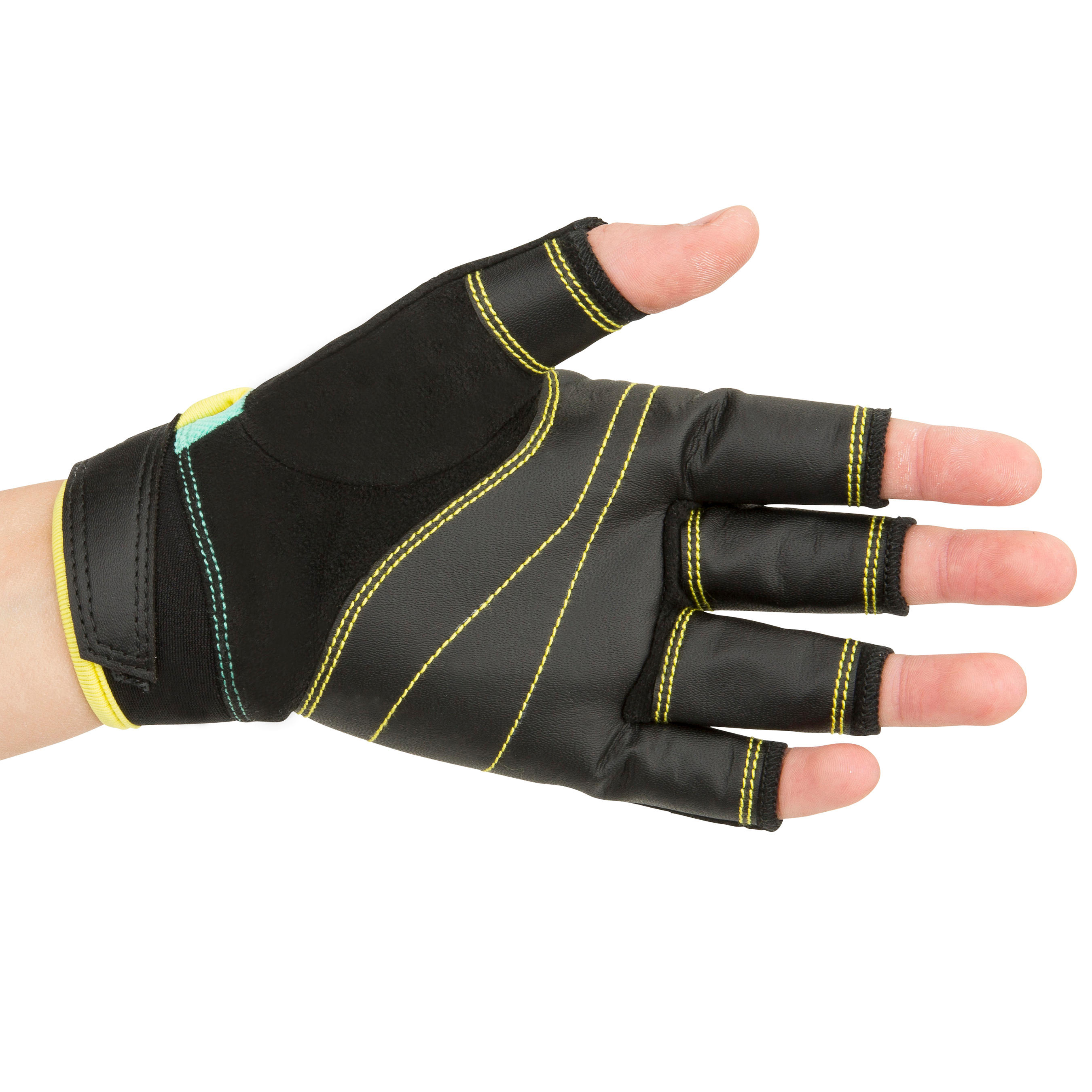 500 Kids' Sailing Fingerless Gloves - Green/Black