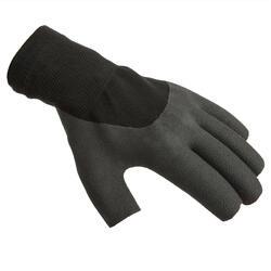 Segel-Handschuhe halbhand Sailing 100 Erwachsene schwarz