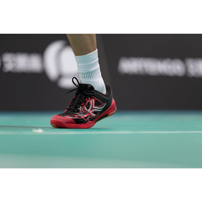 Zapatillas de bádminton ARTENGO BS 860 Hombre Negro Rojo