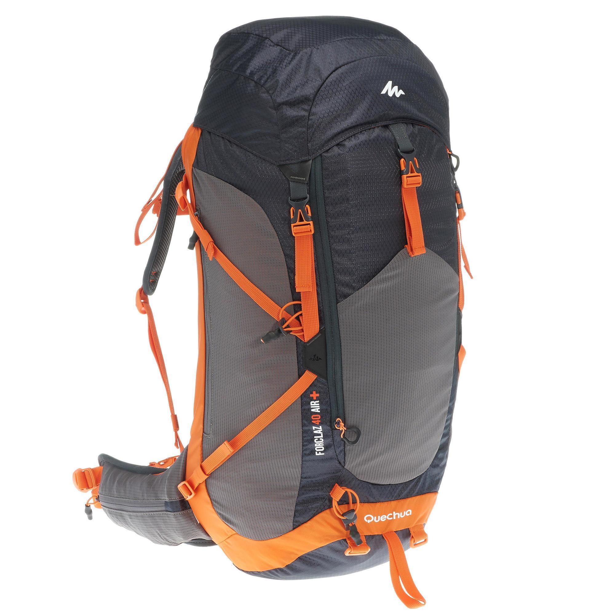 sac dos forclaz 40 litres air homme noir orange quechua. Black Bedroom Furniture Sets. Home Design Ideas
