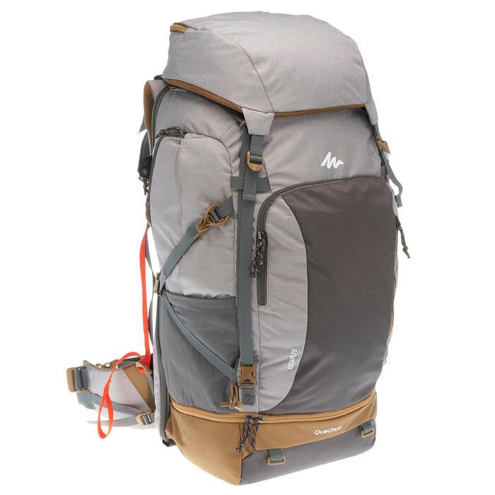 Mochila Trekking TRAVEL 500 mujer 70 litros apta para candado GRIS ... 143cc325580