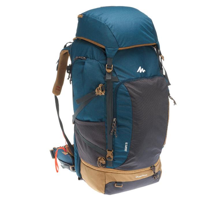 Sac à dos Trekking  TRAVEL 500 Homme  70 litres cadenassable  bleu - 1110004