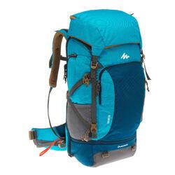 Mochila Trekking TRAVEL 500 mujer 50 litros apta para candado azul