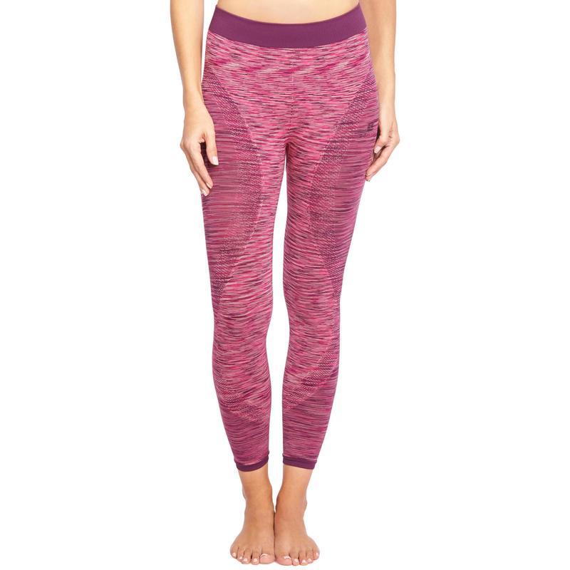 Dámské bezešvé 7 8 legíny Yoga+ 500 na jógu růžové  23adcc93f9