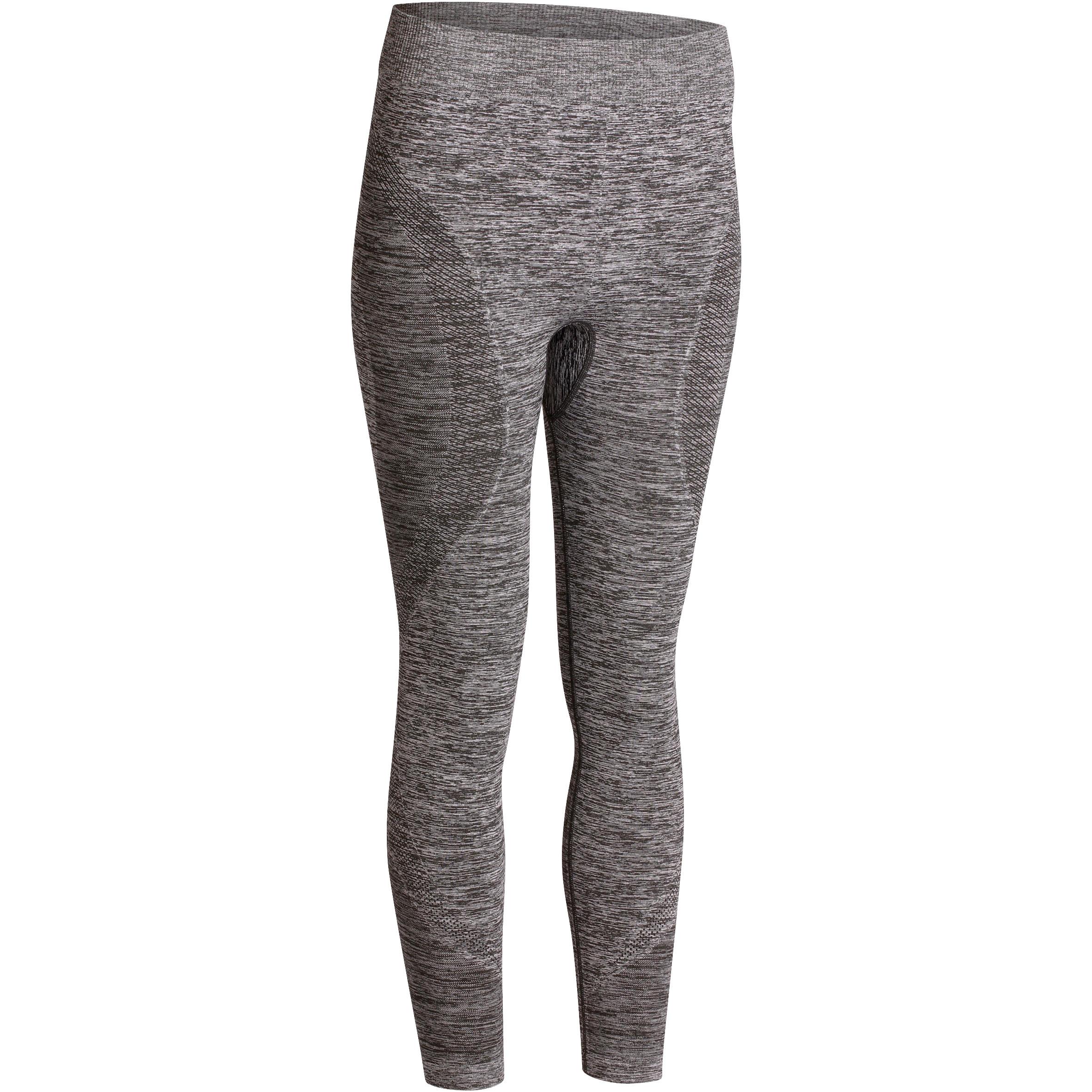 Yoga+ 500 Women's Seamless 7/8 Leggings - Mottled Grey
