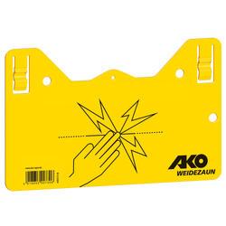 Cartel de señalización valla eléctrica equitación amarillo