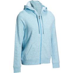 500 Women's Gym & Pilates Zip-Up Hooded Jacket - Black