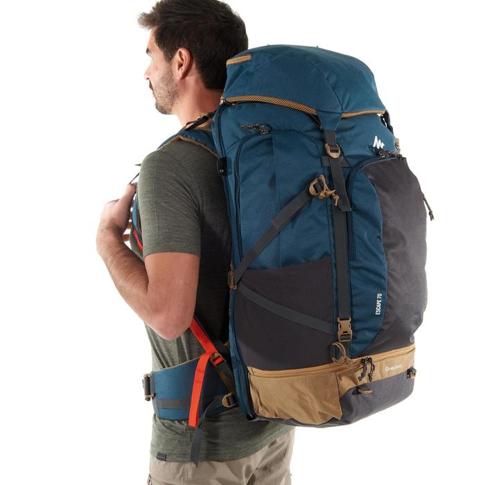 Trekrugzak voor heren Travel 500 70 liter vergrendelbaar blauw