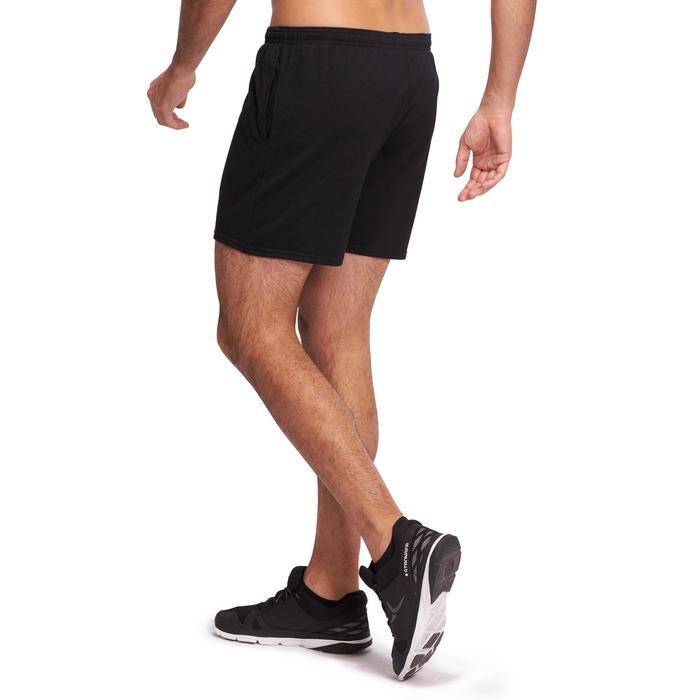 Sporthose kurz 100 halblang Regular Gym Stretching Herren schwarz