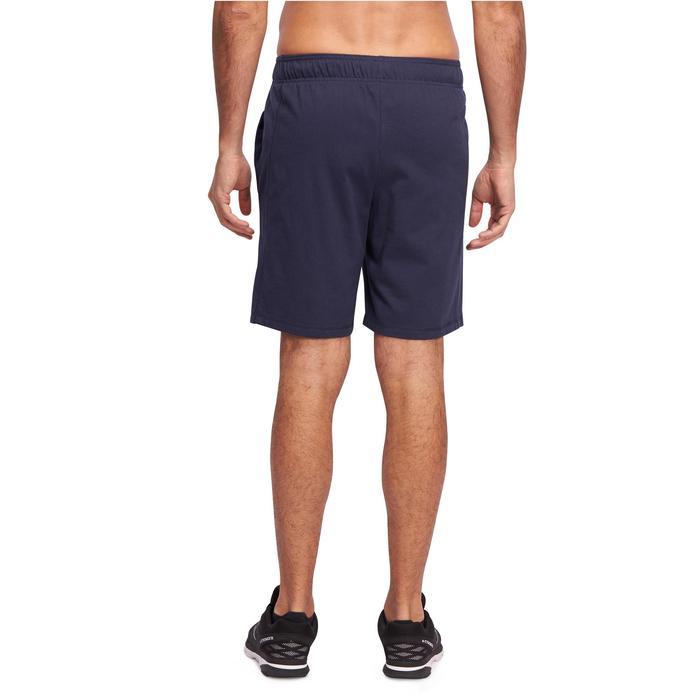 Halflange herenshort voor gym en pilates marineblauw