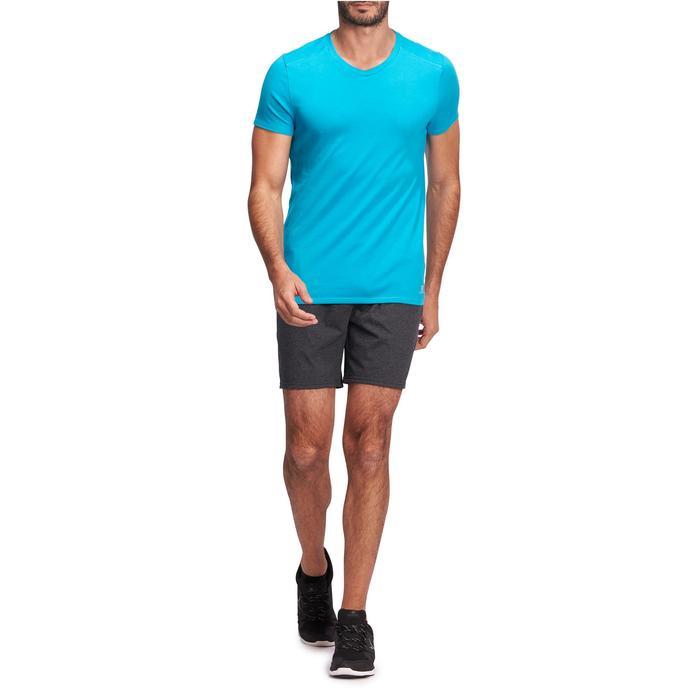 Pantalón Corto Gimnasia y Pilates Domyos 100 Regular Medio Muslo Hombre Negro