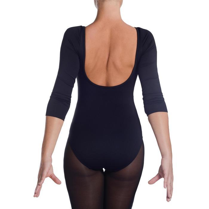 Justaucorps manches 3/4 de danse classique femme noir.