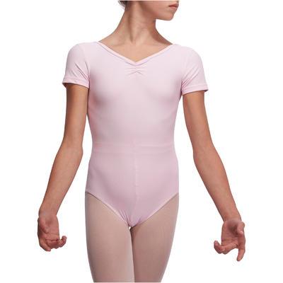 ثوب رقص باليه بأكمام قصيرة للفتيات - وردي خفيف