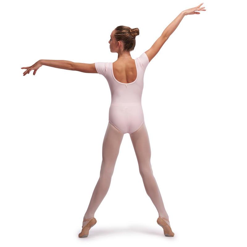 Justaucorps de danse classique manches courtes fille rose pâle.