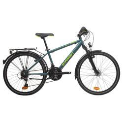 """Kinderfahrrad City-Bike 24"""" Rockrider 540 petrol/neongelb"""