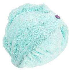 Toalla para el pelo azul/verde de microfibra suave